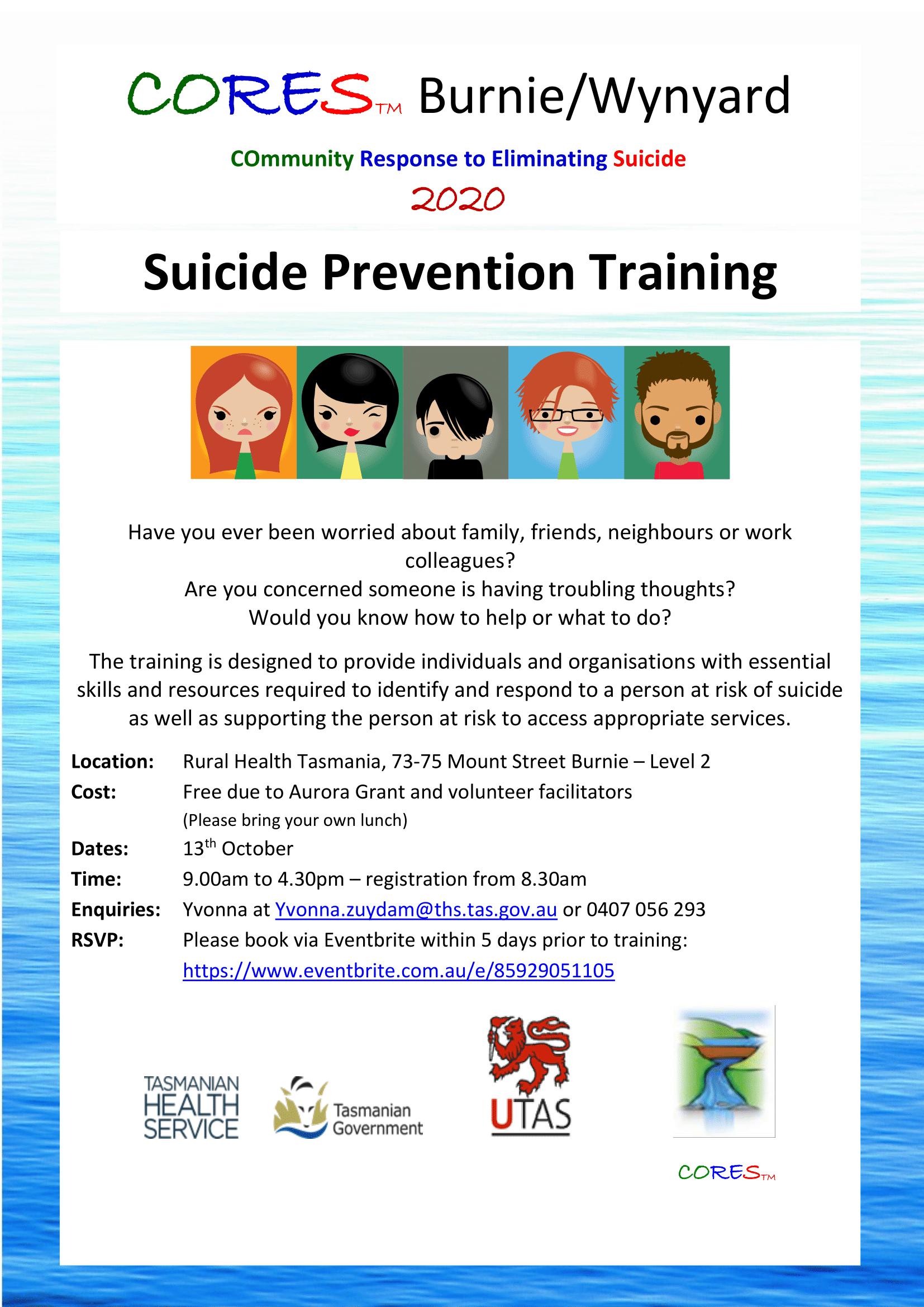 CORES training Burnie 2020 dates-fb