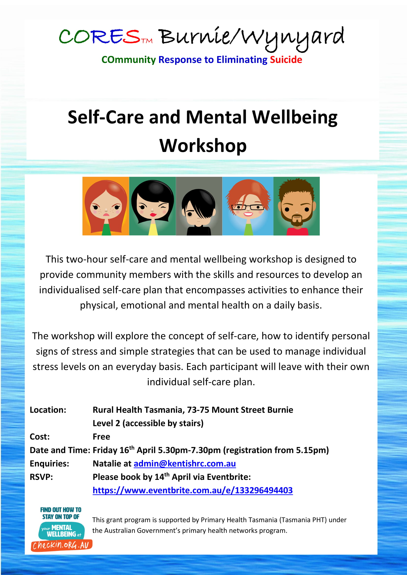 CORES Self-Care and Mental Wellbeing Burnie dates 2021 fb