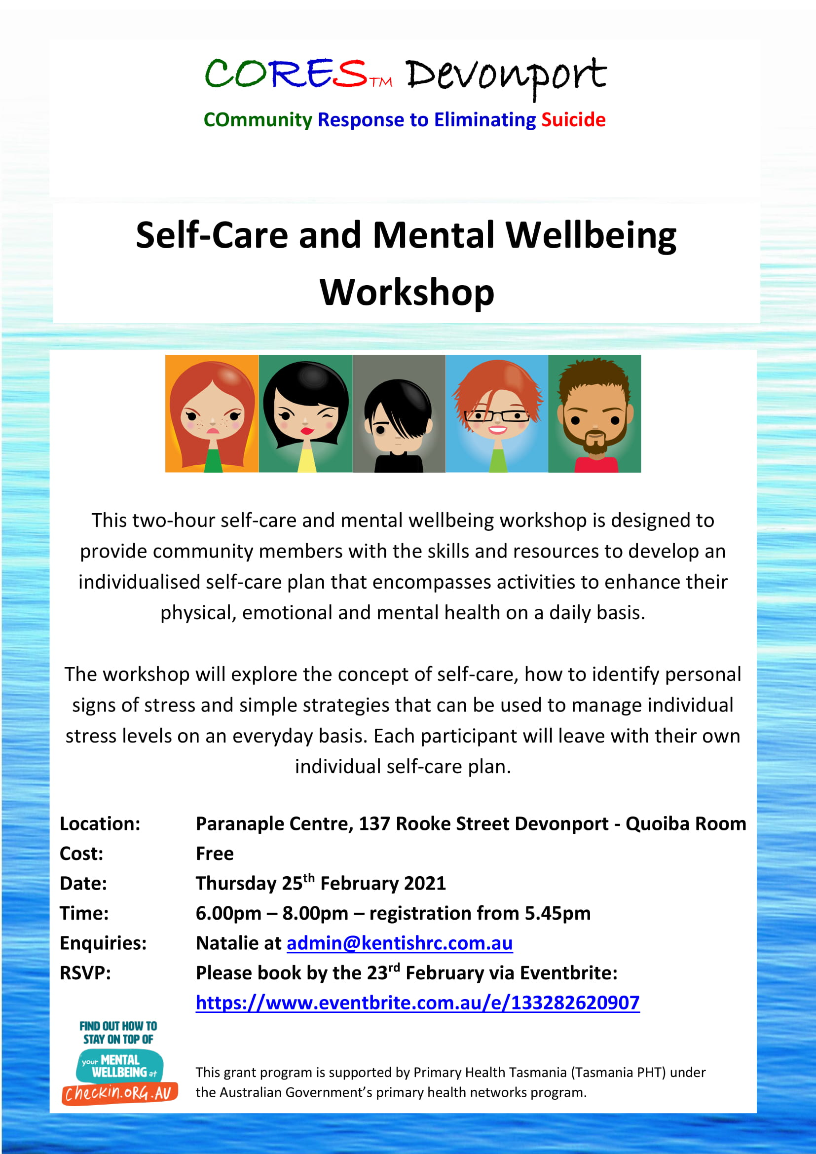 CORES Self-Care and Mental Wellbeing Devonport February 2021 fb