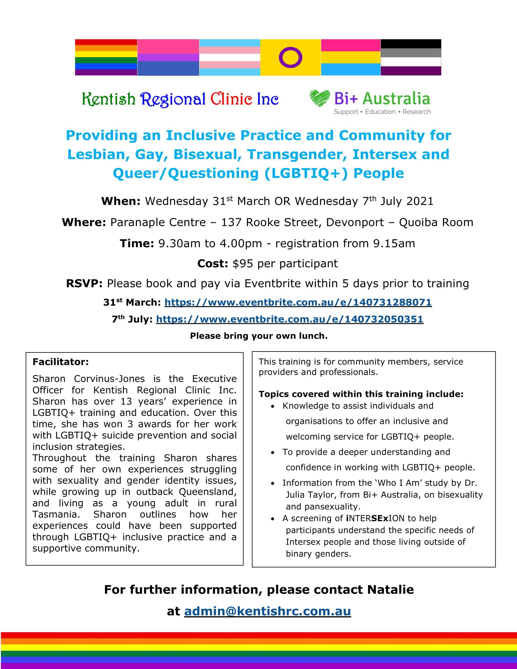 LGBTIQ+ training Devonport 2021 fb