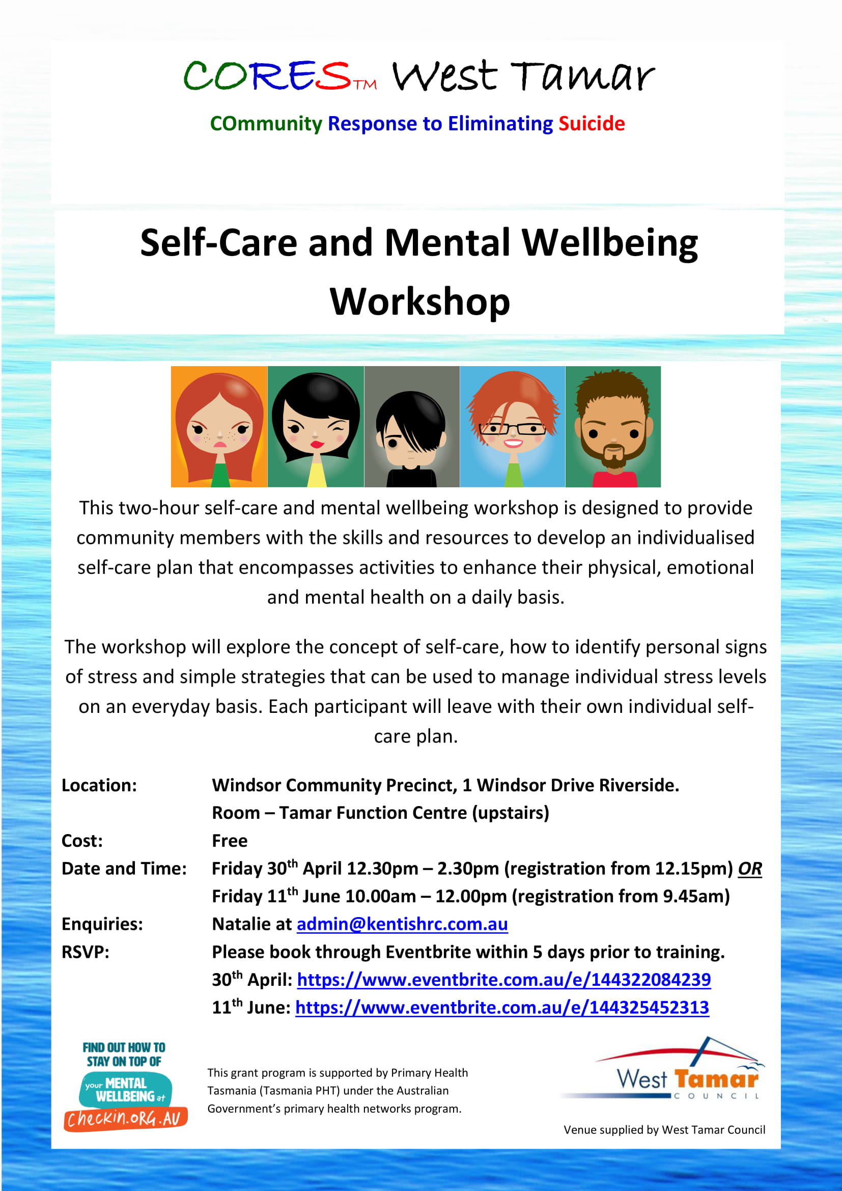 CORES Self-Care and Mental Wellbeing Riverside 2021 dates fb