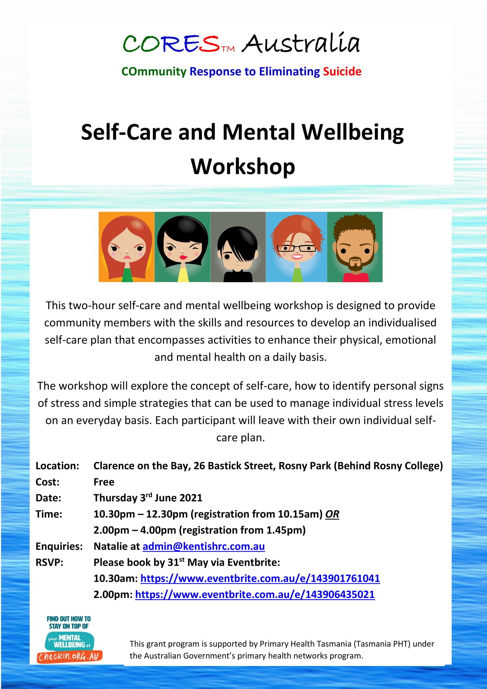 CORES Self-Care and Mental Wellbeing Rosny Park June 2021 fb