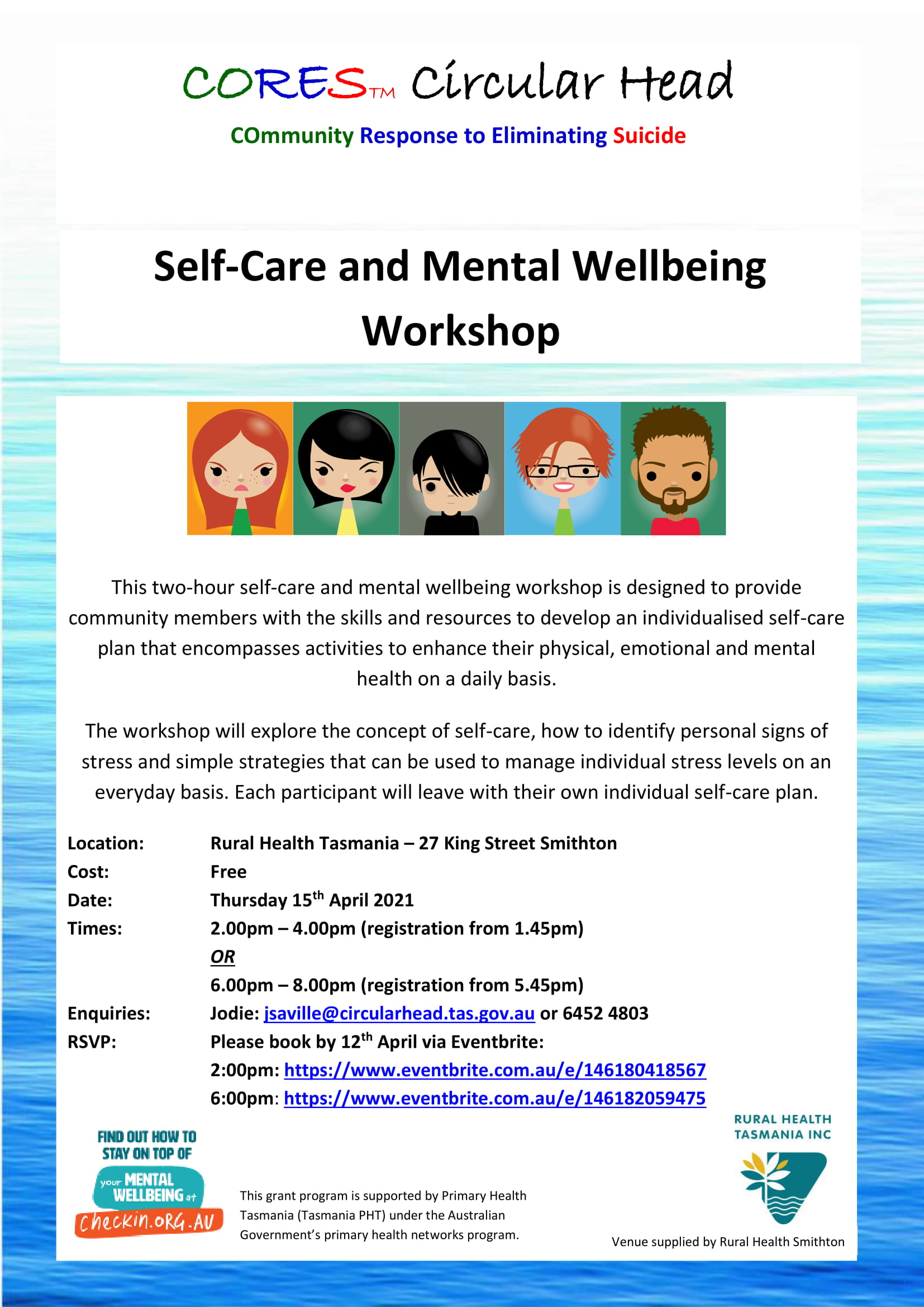 CORES Self-Care and Mental Wellbeing Smithton dates 2021-1