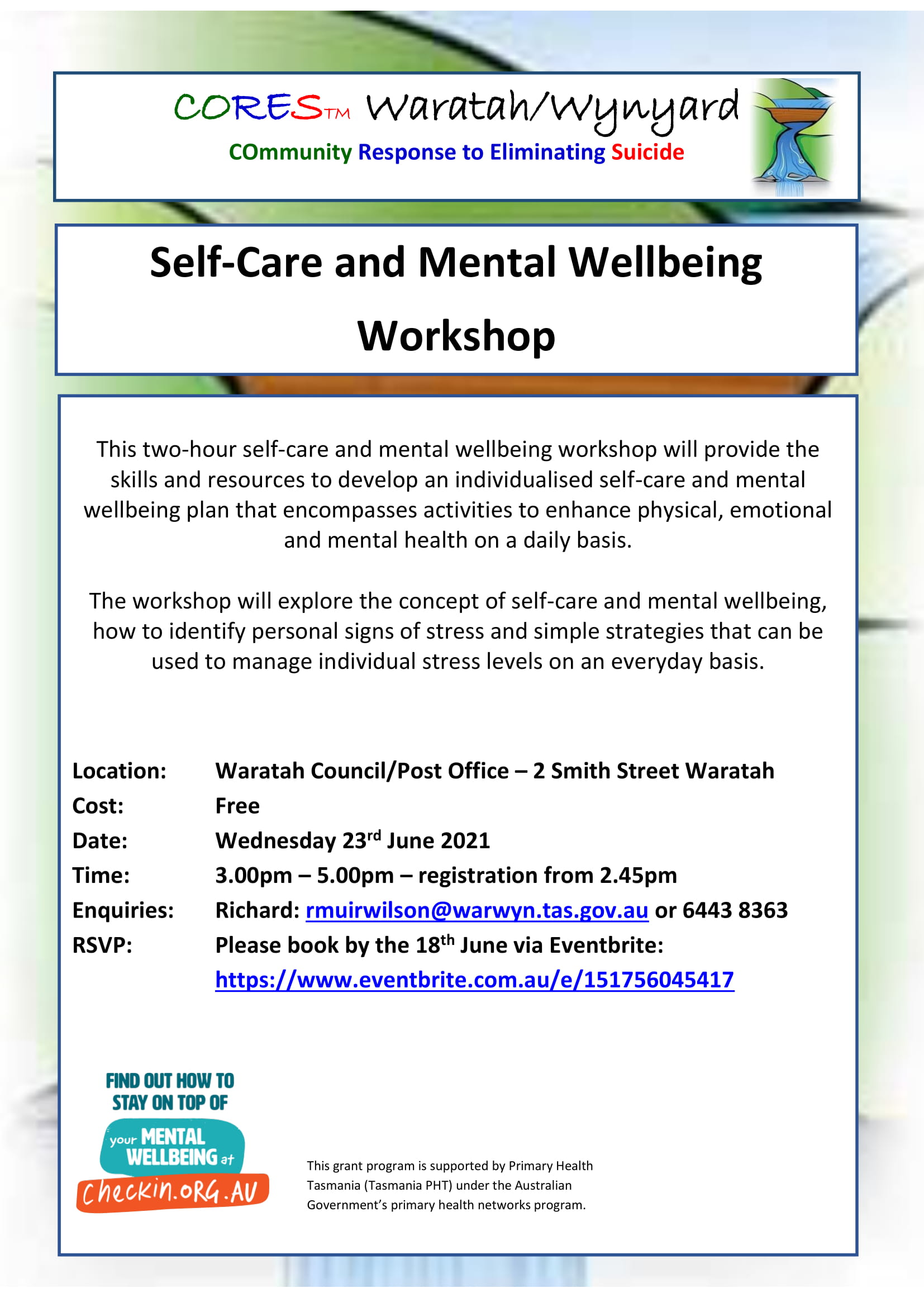 CORES Self-Care and Mental Wellbeing Waratah June 2021-1