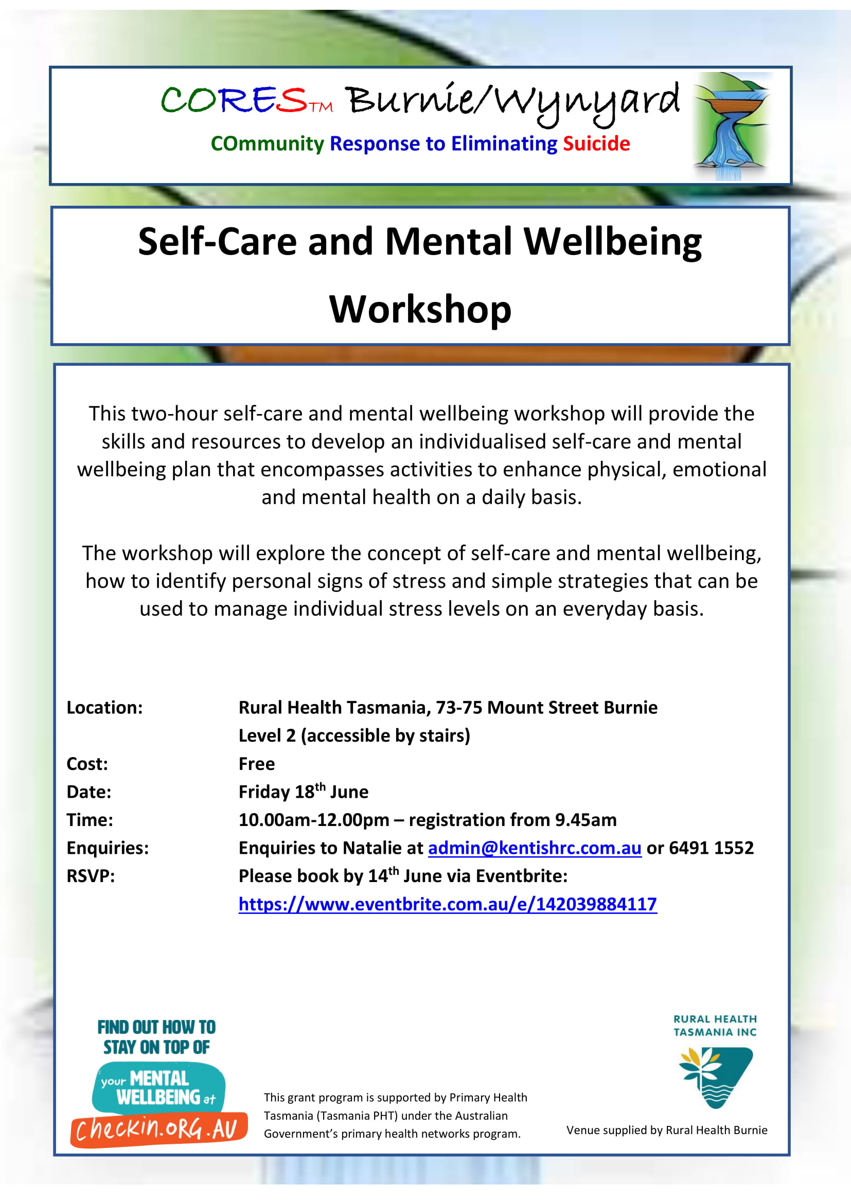 CORES Self-Care and Mental Wellbeing Burnie June 2021-1