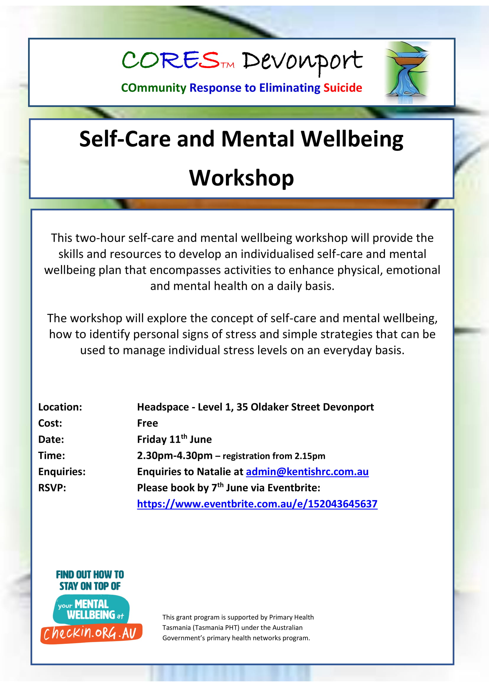 CORES Self-Care and Mental Wellbeing Devonport June 2021-1