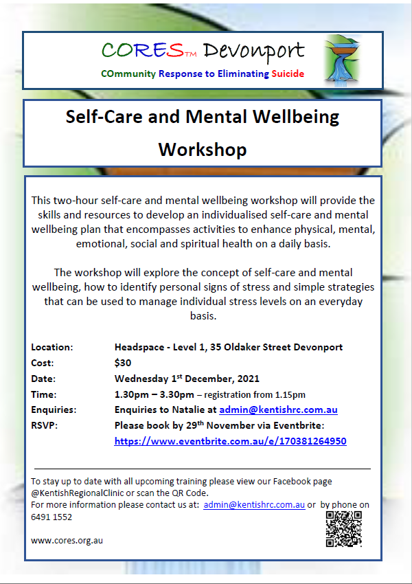 CORES Self-Care and Mental Wellbeing Devonport December