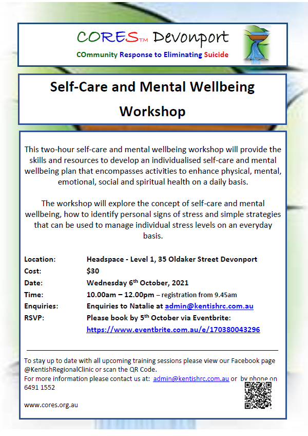CORES Self-Care and Mental Wellbeing Devonport October