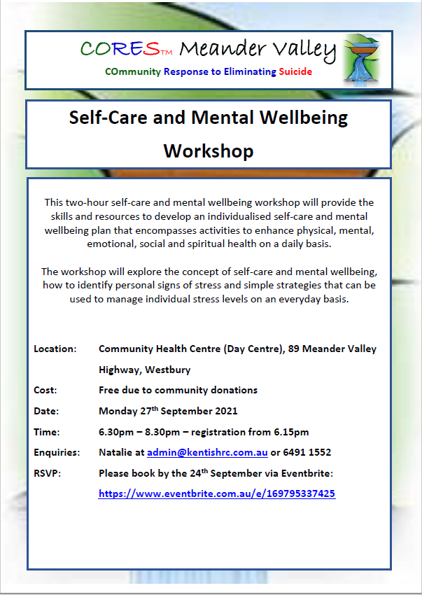 CORES Self-Care and Mental Wellbeing Westbury September 2021